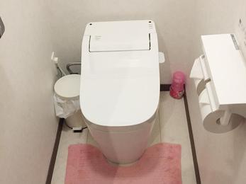 床はすべて解体、水廻り用のフローリングを2重貼り! トイレは手洗い器の無いタイプになりました。